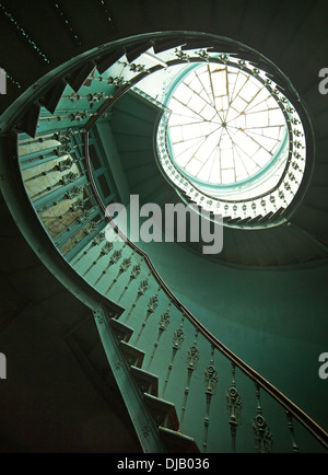 Art shot of old wooden spiral stairs - Stock Photo