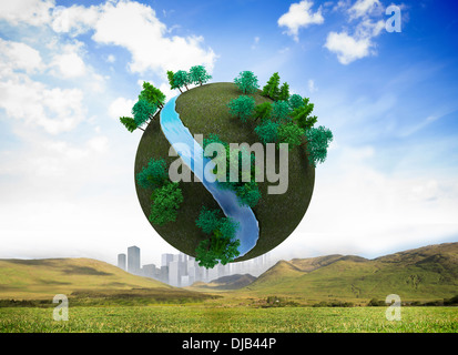Futuristic earth floating in air - Stock Photo