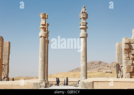 Pillars at the Gate of All Nations, ancient Persian city of Persepolis, UNESCO World Heritage Site, Fars Province, - Stock Photo