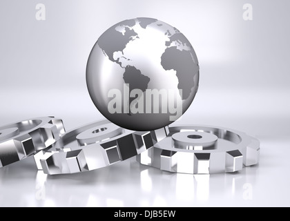 Planet on grey background with cogs - Stock Photo