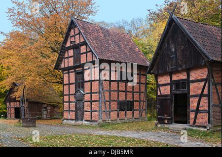 Historic warehouses from the 18th century in autumn, Freilichtmuseum Detmold or Open-Air Museum Detmold, North Rhine - Stock Photo