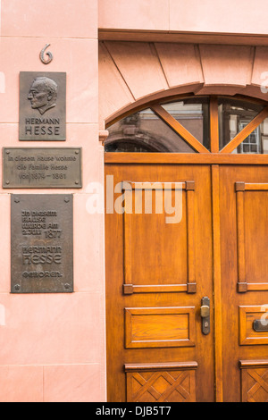 memorial plaque at the house where german writer and nobel prize laureate hermann hesse was born, calw, black forest, - Stock Photo