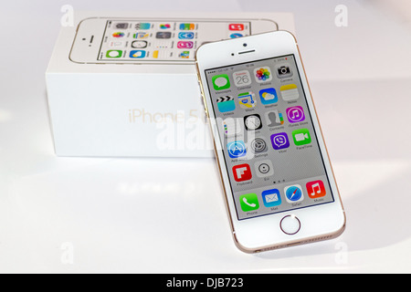 iPhone 5s Gold Front View Slanted On Box Stock Photo ...