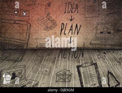 Graphic over dark room with floorboards - Stock Photo