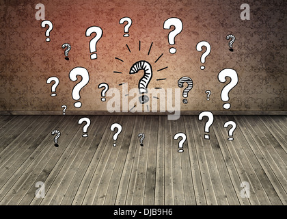 Question marks over dark room with floorboards - Stock Photo