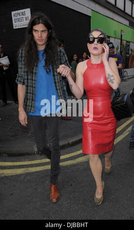 Matthew Mosshart and Kelly Osbourne London Fashion Week Spring/Summer 2013 - House Of Holland - Outside Arrivals. - Stock Photo