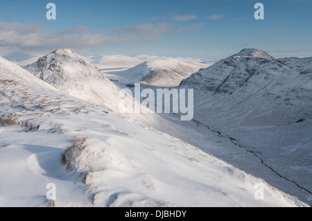 Winter view over the Lairig Gartain from Buachaille Etive Beag, Glencoe, Scottish Highlands - Stock Photo