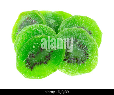 Several pieces of candied Kiwi fruit on a white background. - Stock Photo