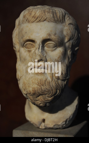 Sophocles (497-406 BC). Bust. Greek tragedian. Marble. Roman copy of 1st century after a greek original of 4th century - Stock Photo