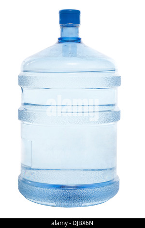 big blue plastic bottle for potable water isolated on a white background and path - Stock Photo