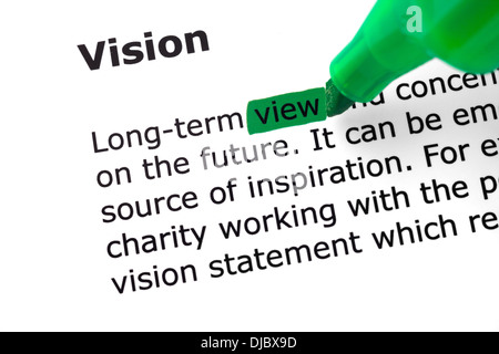 The word Vision highlighted in green with felt tip pen - Stock Photo