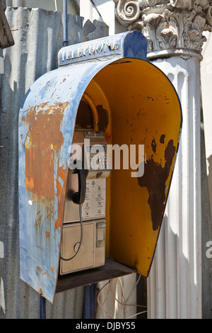 public phone booth on the streets of Thailand - Stock Photo
