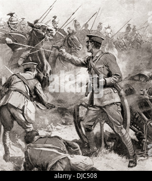 No Surrender! A British artillery officer who sold his life dearly when his battery was attacked by 3,000 Uhlans - Stock Photo