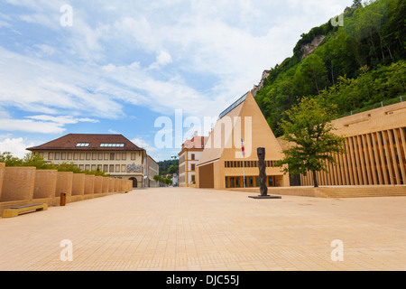 Main street in downtown Liechtenstein kingdom capital Vaduz, tiny country in Europe - Stock Photo