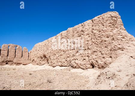 An ancient wall at Ayaz Kala Fortress 1, Ayaz Kala, Khorezm, Uzbekistan - Stock Photo