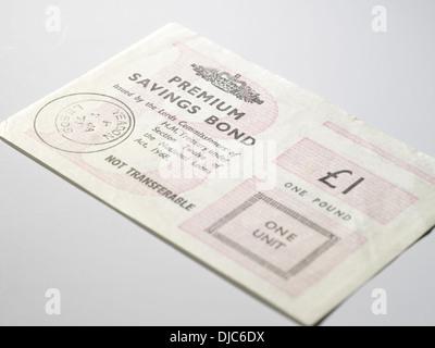 Original style £1 Premium Bond Certificates - Stock Photo