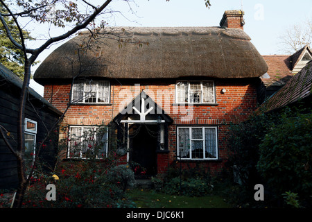 A traditional thatched cottage in the New Forest village of Burley, Hampshire, UK - Stock Photo