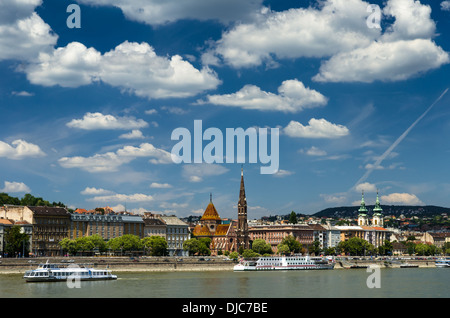 Castle Hill Buda district and Danube River in Budapest, capital of Hungary. - Stock Photo