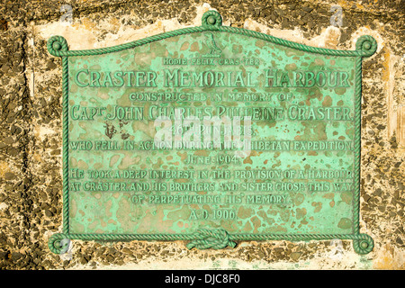 A memorial plaque in Craster harbour, Northumberland, UK. - Stock Photo