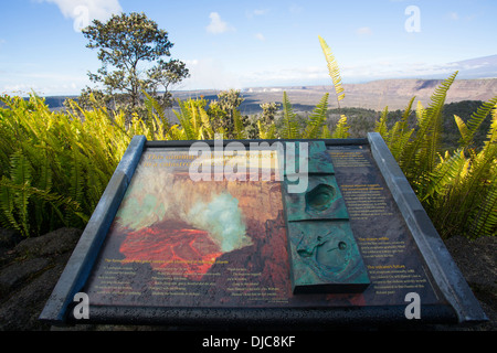 Halemaumau Crater from the Volcano House, Kilauea Volcano, HVNP, Big Island of Hawaii - Stock Photo