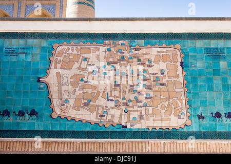 Tiled map of Khiva, Ichan Kala, Khiva, Uzbekistan - Stock Photo