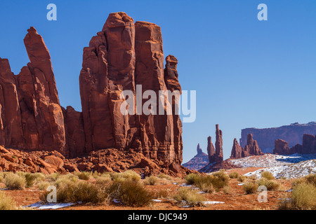 Red rock pillars and mesas in Monument Valley Tribal Park - Stock Photo