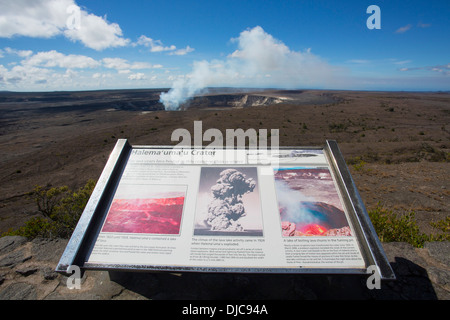Halemaumau Crater, Kilauea Volcano, HVNP, Big Island of Hawaii - Stock Photo