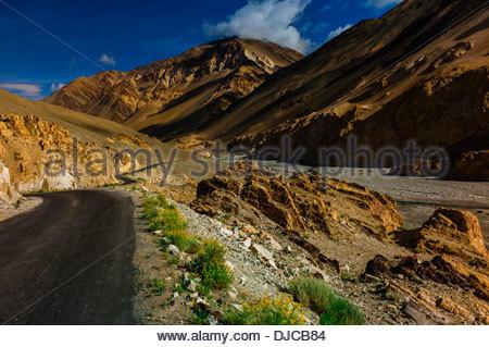Pangong Lake Road, Ladakh, Jammu and Kashmir State, India. - Stock Photo