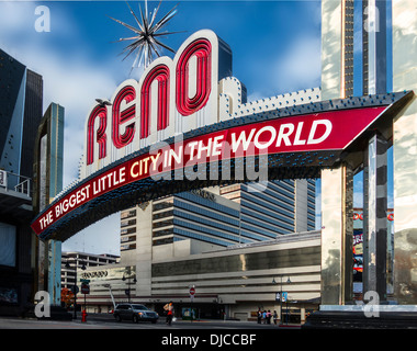 A daytime front on three quarter view of the RENO the biggest little city in the world sign,in Reno Nevada