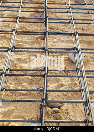 Concrete forms and steel installation for the floor - Stock Photo