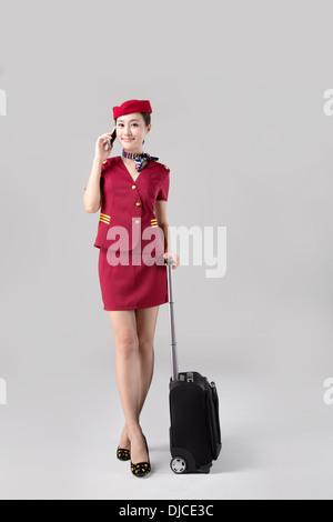 Airline Stewardess,Flight Attendant,Air Host,Cabin Crew - Stock Photo