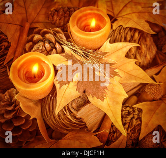 Thanksgiving day decoration, beautiful natural decor for autumnal holiday, old dry maple leaves, pine cones, warm - Stock Photo