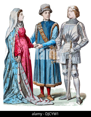 Early 15th Century XV 1400s German Burgher of Ravensburg and his Wife, Knight in armour from Stettenberg - Stock Photo