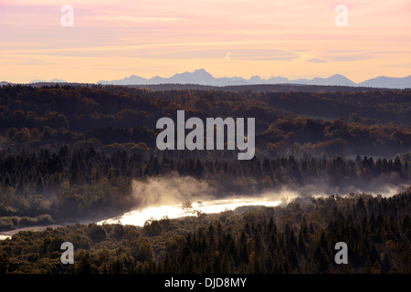 Germany, Bavaria, Isar in morning fog, Pupplinger Au - Stock Photo