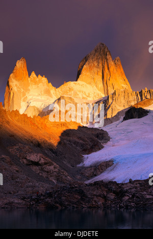 Sunrise on Fitz Roy Massif with Lago de los Tres in the foreground.Pategonia.Argentina - Stock Photo