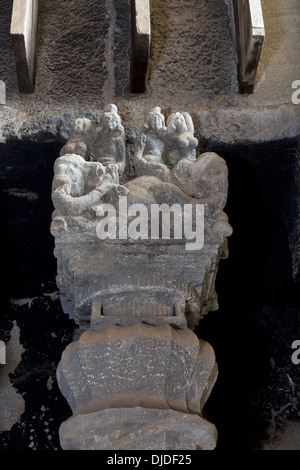 Details of one first pillar on the right in the chaitya hall. Circa 2nd. Century CE. Karla Caves, Pune, Maharashtra - Stock Photo