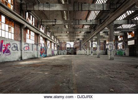 Interior of abandoned factory, Montluçon, Allier Department, Auvergne, France