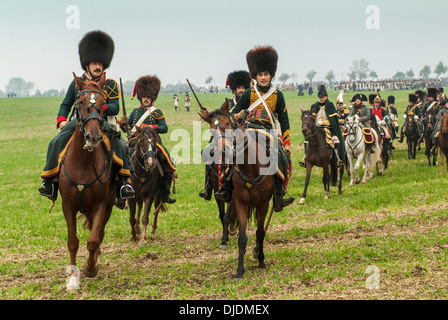 Battle of Jena in 1806, historic battlefield, the French army leadership on horseback, American actor Mark Schneider - Stock Photo