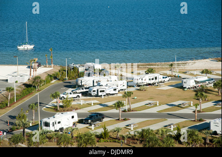 Trailer park at Pensacola Beach Florida on the Santa Rosa waterfront overlooking Santa Rosa waterfront. USA - Stock Photo