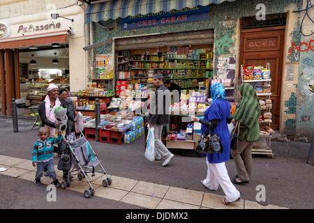 Marché des Capucins market in the district of Noailles, historic center, Marseille, Département Bouches-du-Rhône, - Stock Photo