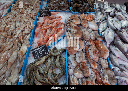 Display of a fishmonger at the Marché des Capucins market in the district of Noailles, historic center, Marseille, - Stock Photo