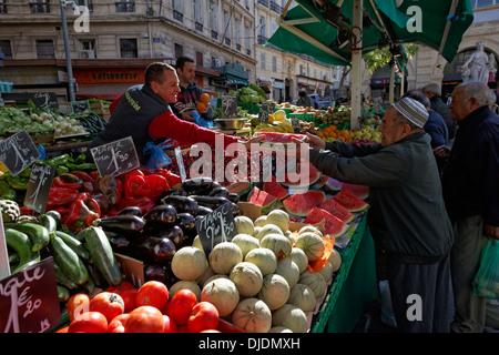 Greengrocers at the Marché des Capucins market in the district of Noailles, historic center, Marseille, Département - Stock Photo