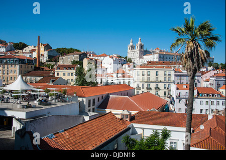 View over the old quarter of Alfama, Alfama, Lisbon, Lisbon district, Portugal - Stock Photo