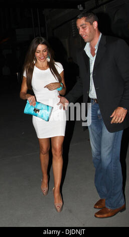 Sofia Vergara and Nick Loeb leaving the Bagatelle restaurant together in the Meatpacking District, Manhattan. Featuring: - Stock Photo