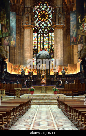 Choir and altar, Milan Cathedral, Milan, Lombardy, Italy - Stock Photo