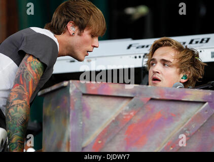 Dougie Poynter and Tom Fletcher McFly perform live at Newmarket Racecourse Suffolk, England - 09.06.12 - Stock Photo