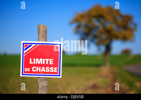 No Hunting sign in France - Stock Photo