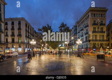 Plaza de la Boqueria, Ramblas, Miro, Barcelona, Spain - Stock Photo