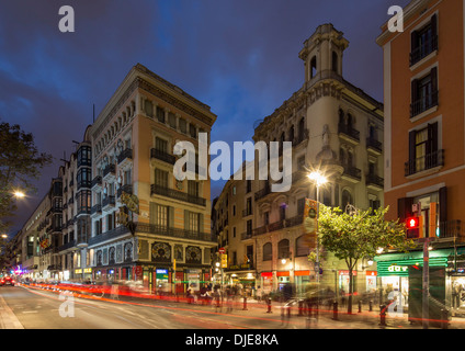 The Ramblas at twilight , Barcelona, Catalunia, Spain, - Stock Photo