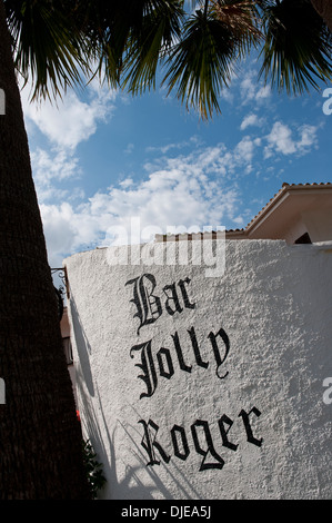 Sign outside the Bar Jolly Roger in Mallorca. - Stock Photo